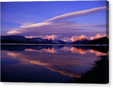 Winter Sunset On Lake Mcdonald-glacier National Park Canvas Print by Larry Kjorvestad