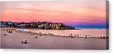 Swimmers Canvas Print - Winter Sunset Over Bondi by Az Jackson