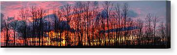 Canvas Print featuring the photograph Winter Sunset Panorama by Francesa Miller