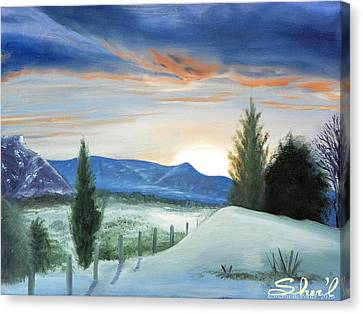 Canvas Print featuring the painting Winter Sunset by Sherril Porter