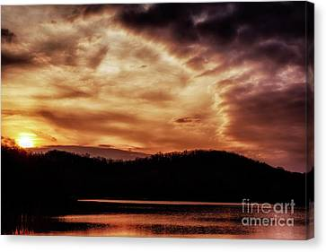 Canvas Print featuring the photograph Winter Sunset by Thomas R Fletcher