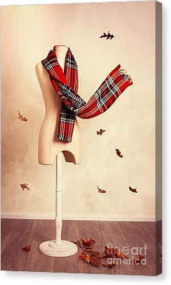 Winter Tartan Scarf With Fall Leaves Canvas Print by Amanda Elwell
