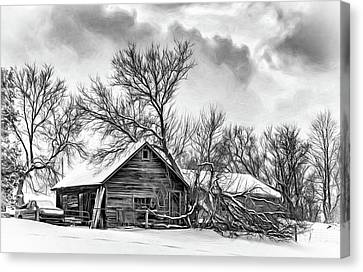 Winter Storm Canvas Print - Winter Thoughts 2 - Bw by Steve Harrington