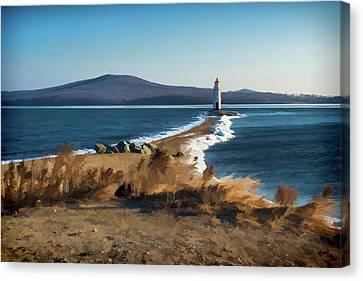 Vladivostok Canvas Print - Winter Tokarevsky Lighthouse  by Mariia Kalinichenko