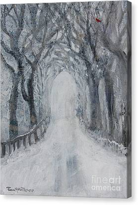 Canvas Print featuring the painting Winter Tree Tunnel by Robin Maria Pedrero