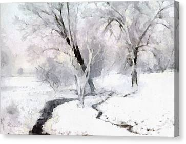 Canvas Print featuring the digital art Winter Trees by Francesa Miller
