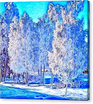 Canvas Print featuring the digital art Winter Trees by Ron Bissett