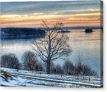 Winter Twilight At Fort Allen Park Canvas Print by Patricia E Sundik