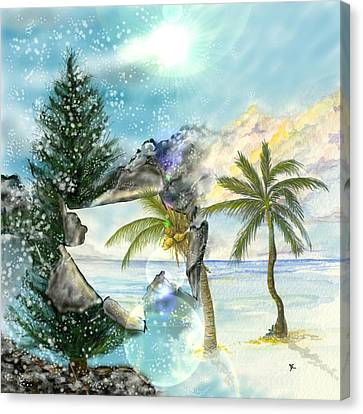 Canvas Print featuring the digital art Winter Vacation by Darren Cannell