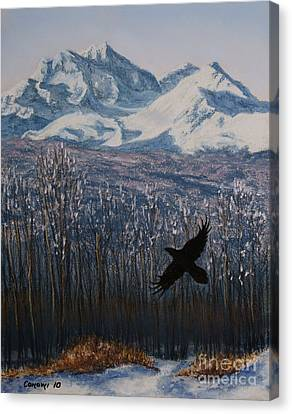 Canvas Print featuring the painting Winter Valley Raven by Stanza Widen
