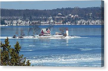 Winter View Of Crossover Island Canvas Print