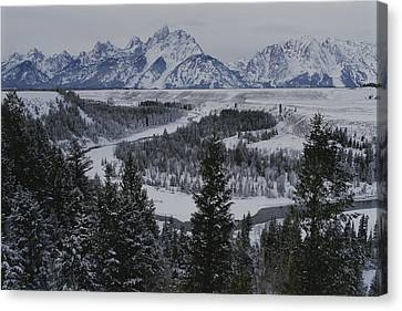 Winter View Of The Snake River, Grand Canvas Print by Raymond Gehman