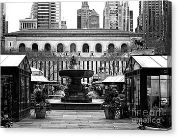 Bryant Canvas Print - Winter Village At Bryant Park by John Rizzuto