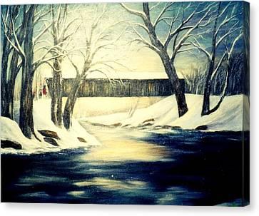 Winter Walk At Bennett's Mill Bridge Canvas Print by Gail Kirtz