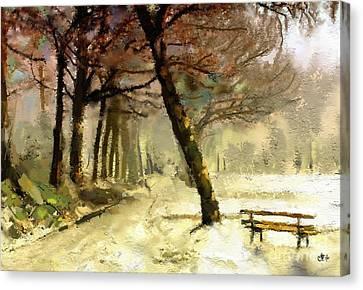 Winter Walk Canvas Print by Carrie Joy Byrnes