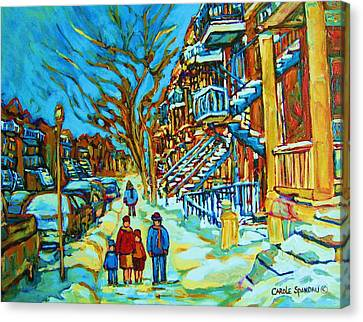 Montreal Neighborhoods Canvas Print - Winter  Walk In The City by Carole Spandau
