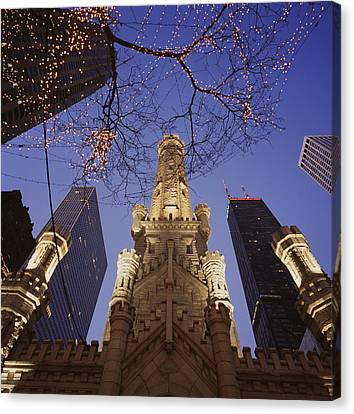 Winter Water Tower Chicago Il Canvas Print by Panoramic Images