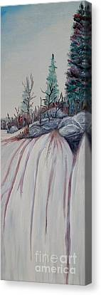 Canvas Print featuring the painting Winter Waterfall by Marilyn  McNish