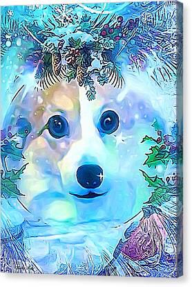Canvas Print featuring the digital art Winter Welsh Corgi by Kathy Kelly