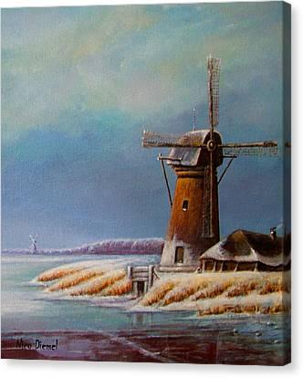Winter Windmill Canvas Print by Nick Diemel