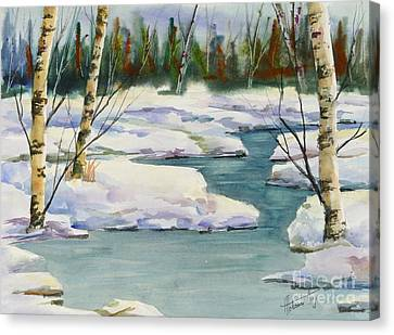 Cool Winter -  Watercolour Canvas Print by Mohamed Hirji