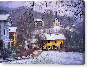 Winter Wonderland In Mondsee Austria  Canvas Print by Carol Japp