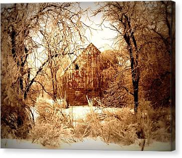 Winter Wonderland Sepia Canvas Print by Julie Hamilton