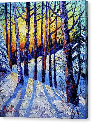 Winter Woodland Sunset Canvas Print by Mona Edulesco