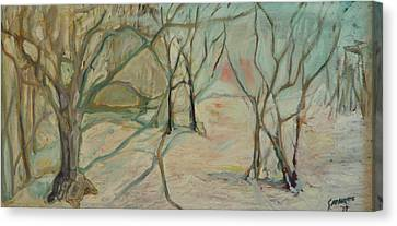 Winter Woods Canvas Print by Leon Sarantos