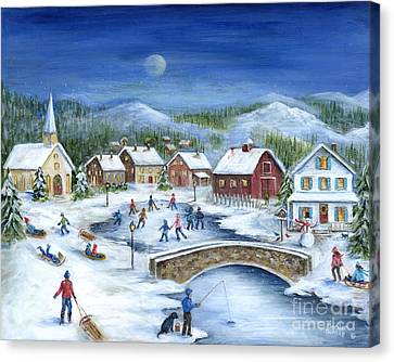 Red Barn In Snow Canvas Print - Winterfest by Marilyn Dunlap