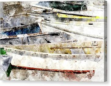 Winterport Dories Wc Canvas Print by Peter J Sucy