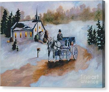 Canvas Print featuring the painting Winters Dream by Brenda Thour