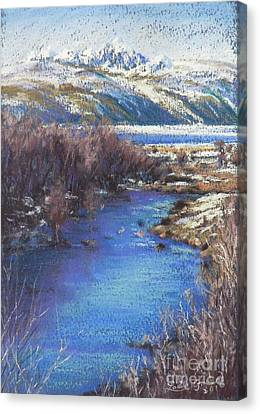 Winter's Edge, Flat Creek Jackson Canvas Print by Louise Green