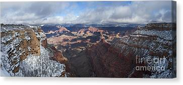 Winter's Grasp At The Grand Canyon Canvas Print by Sandra Bronstein