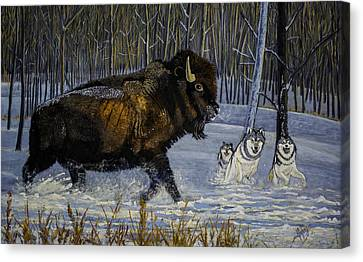 Winter's Hunt  48x30x1 Inch Oil On Gallery Canvas Canvas Print