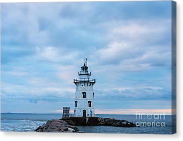 Winter's Morn At Saybrook Breakwater - New England Lighthouse Canvas Print by JG Coleman