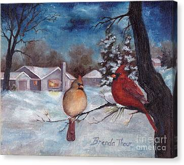 Canvas Print featuring the painting Winters Serenity by Brenda Thour