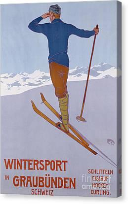 Mountain Men Canvas Print - Wintersport In Graubunden, 1906  by Walter Koch