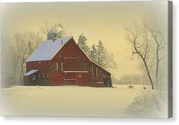 Red Barn In Snow Canvas Print - Wintery Barn by Julie Lueders