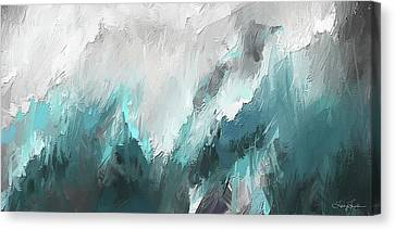 Wintery Mountain- Turquoise And Gray Modern Artwork Canvas Print by Lourry Legarde