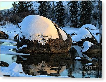 Canvas Print featuring the photograph Wintery Rock by Edward R Wisell