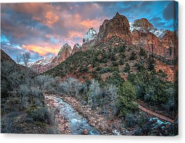 Wintery Sunset At Zion National Park Canvas Print by James Udall