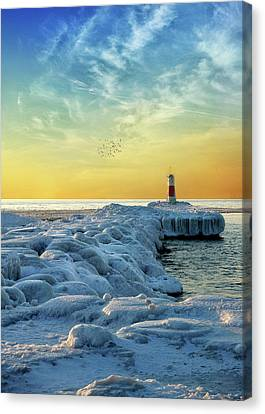 Wintry River Channel Canvas Print
