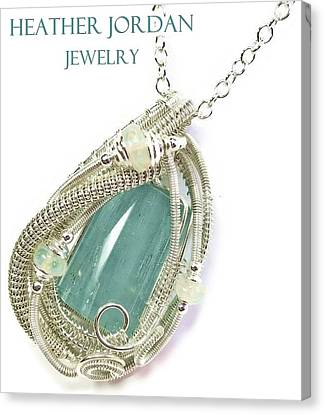 Wire-wrapped Aquamarine Crystal Pendant In Sterling Silver With Ethiopian Opals Aqpss2 Canvas Print by Heather Jordan