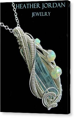 Wire-wrapped Aquamarine Crystal Pendant In Sterling Silver With Ethiopian Opals - Aqpss5 Canvas Print by Heather Jordan