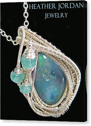 Wire-wrapped Australian Opal Pendant In Sterling Silver With Blue Apatite Abopss3 Canvas Print by Heather Jordan