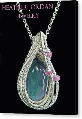 Wire-wrapped Australian Opal Pendant In Sterling Silver With Pink Sapphires Abopss2 Canvas Print by Heather Jordan