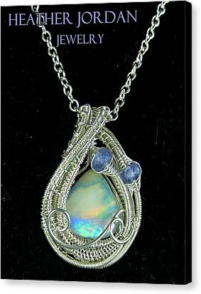 Wire-wrapped Australian Opal Pendant In Sterling Silver With Tanzanite Auopss1 Canvas Print by Heather Jordan