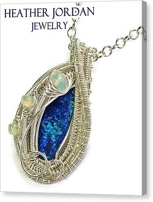 Wire-wrapped Coober Pedy Australian Opal Pendant In Sterling Silver With Ethiopian Opals Abopss Canvas Print by Heather Jordan
