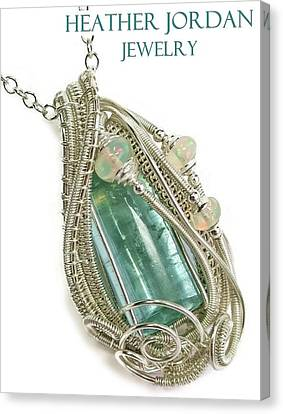 Wire-wrapped Natural Aquamarine Crystal Pendant In Sterling Silver With Ethiopian Opals Aqpss1 Canvas Print by Heather Jordan